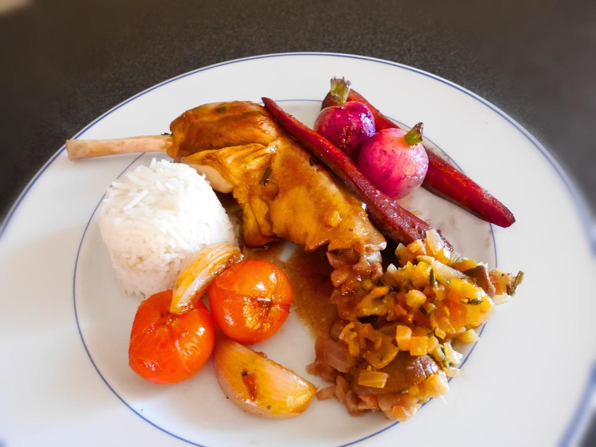 Cuisses de Poulet en Cocotte et Légumes Glacés