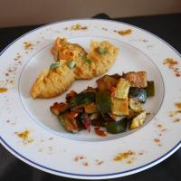 Poêlée de Courgettes et Poivrons/Purée de Patates Douces