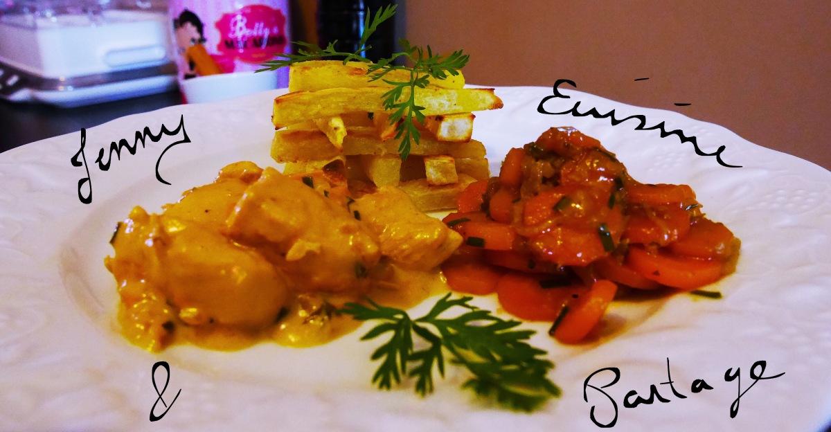 Poulet coco épicé,carottes à la citronelle, patates douces au four