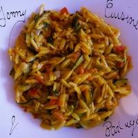Avoinotto échalotes/courgette/pistaches et basilic
