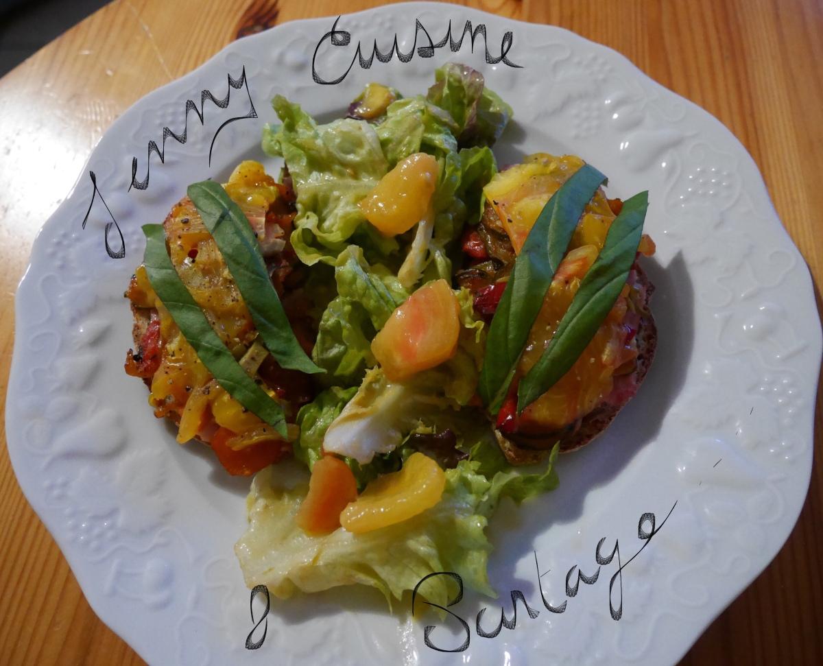 Tartines poivron/courgettes/jambon/tomate ananas