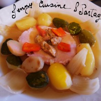 Rôti de Porc saumuré et ses petits légumes.