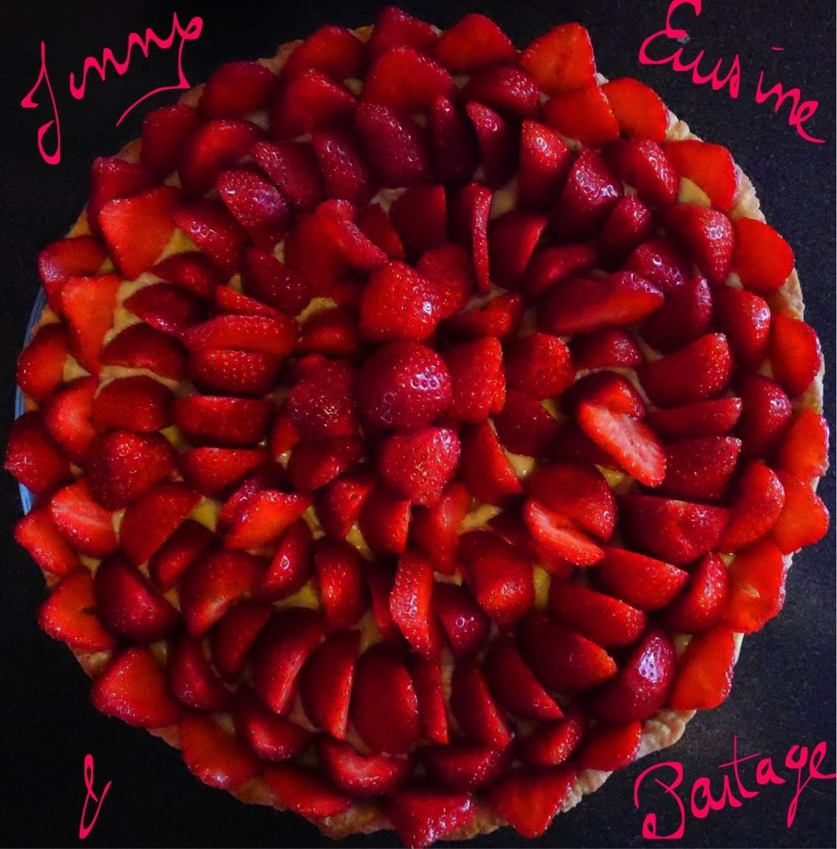 Tarte aux fraises sur pâtissière à la pistache sans Lactose