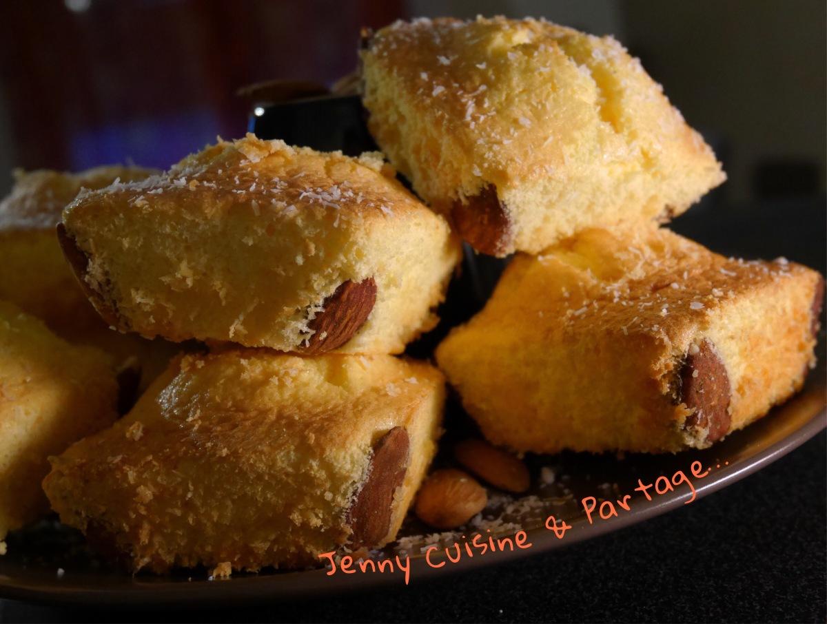 Gâteaux de Savoie Passion/Coco et crème Anglaise au lait d'amandes